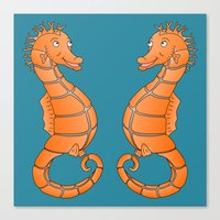 seahorse Canvas Prints featuring Seahorse by mailboxdisco