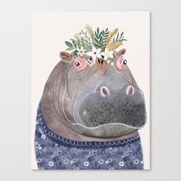 Hippo with flowers on head Canvas Print