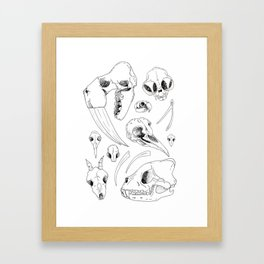 Black and White Hand Drawn Animal Skulls Print Framed Art Print