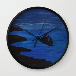 Vessel at sea at night painting Wall Clock