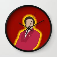 anchorman Wall Clocks featuring Ron Burgundy: Anchorman by The Vector Studio