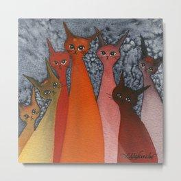 Casablanca Whimsical Cats Metal Print
