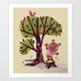 Bear on a tree stump waving hello Art Print