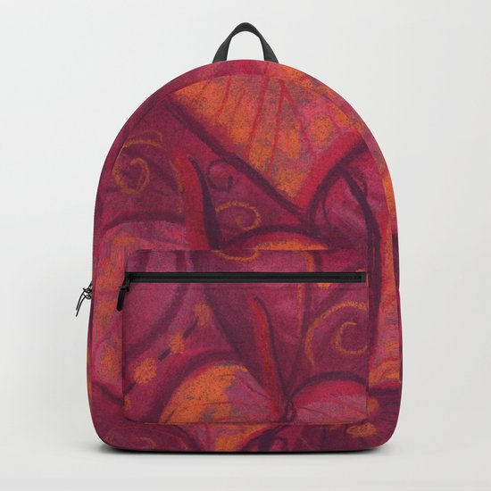 Hearty Flowers, anthurium, funky floral, pink, red & orange Backpack