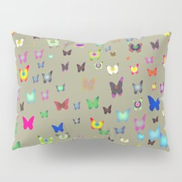 Numerous colorful butterflies on gray background. Pillow Sham