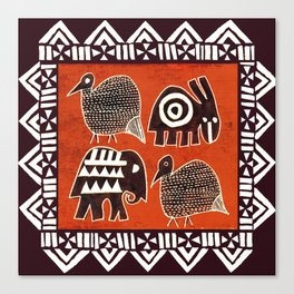 African Animal Folk Art Canvas Print