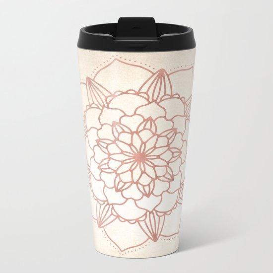 Mandala Bloom Rose Gold on Cream Metal Travel Mug