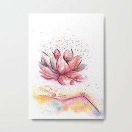 Lotus Flower Watercolor Art Metal Print