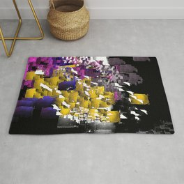 Decorative Abstract in Purple, Blue, Black, Yellow, and White Rug
