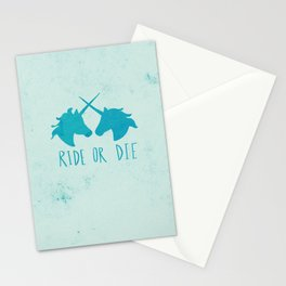 Ride or Die x Unicorns x Turquoise Stationery Cards