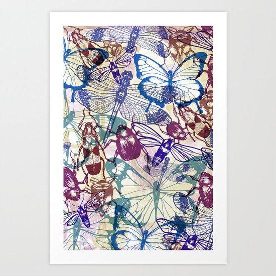 butterflies and bugs Art Print