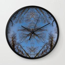 Mirroring high trees Wall Clock