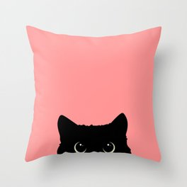 Sneaky black cat Throw Pillow