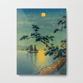Tsuchiya Koitsu Maiko Seashore Japanese Woodblock Print Night Time Moon Over Ocean Sailboat Metal Print