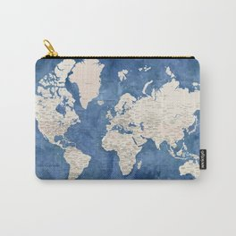 Light brown and blue watercolor detailed world map Carry-All Pouch