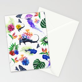 tropical shark pattern Stationery Cards