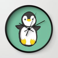 penguin Wall Clocks featuring penguin by Julie Zhang