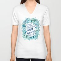 fitzgerald V-neck T-shirts featuring Zelda Fitzgerald – Blue on White by Cat Coquillette