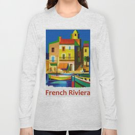 Vintage French Riviera Travel Ad Long Sleeve T-shirt