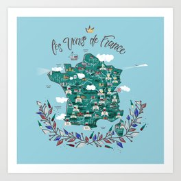 Map of french vineyards Art Print