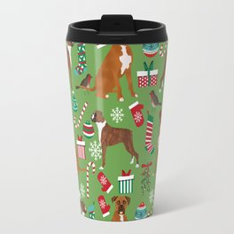 Boxer dog christmas pattern must have holiday themed dog breed pet friendly accessories for home Travel Mug