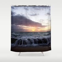 zappa Shower Curtains featuring ocean  sunrise by Diva Zappa
