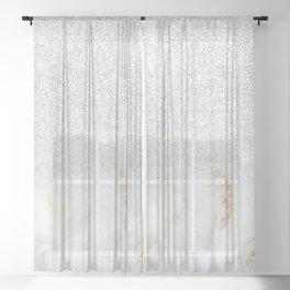 Modern Faux Silver Glitter White Marble Trendy Girly Elegant Luxury Sheer Curtain