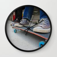 skateboard Wall Clocks featuring Skateboard by Mechanical Kayla