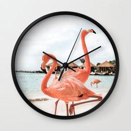 Pink Flamingos On Aruba Island Art Photo   Caribbean Beach Wall Print   Tropical Travel Photography Wall Clock