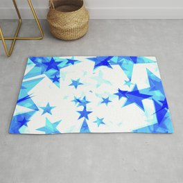Glowing heavenly and blue stars on a light background in projection and with depth. Rug