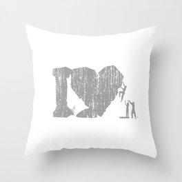 I Love Bouldering (white) Throw Pillow
