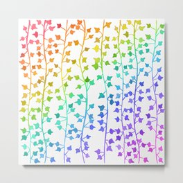 Watercolor Vines Pattern - Rainbow Metal Print