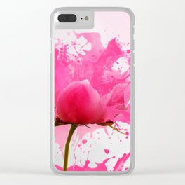 Pink Flower Abstract Paint Splatter Clear iPhone Case