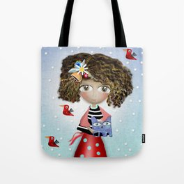 Art Doll - Kids Decor - Cat Winter snowing Tote Bag