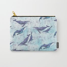 Big space whales light blue pattern Carry-All Pouch
