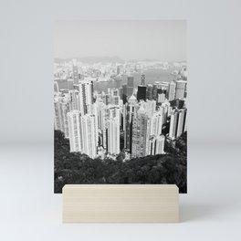 Hong Kong Cityscape // Sky Scraper Skyline Landscape Photography Black and White Buildings Mini Art Print