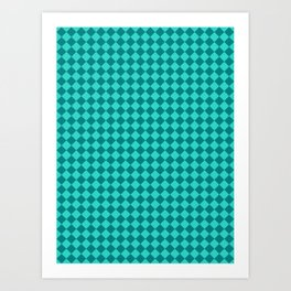 Teal and Turquoise Diamonds Art Print