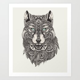 Wolf Head Detailed Illustration Art Print