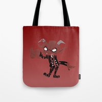 soul eater Tote Bags featuring little demon soul eater by Rebecca McGoran