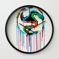 world cup Wall Clocks featuring Bleed World Cup by DesignYourLife