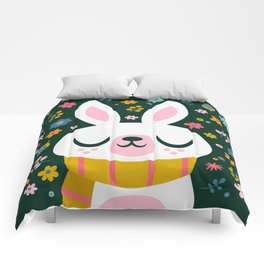 Bunny with a Scarf and Flowers / Cute Animal Comforters