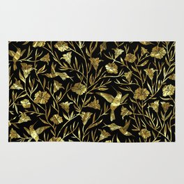 Black and gold foil humming birds & leafs pattern Rug