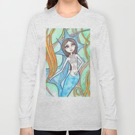 Mermaid Blue Long Sleeve T-shirt