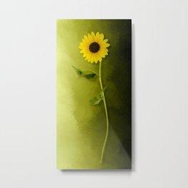 Single Long Stem Sunflower Metal Print