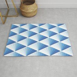 BLUE JAPAN TILE ART FAN PATTERN Rug