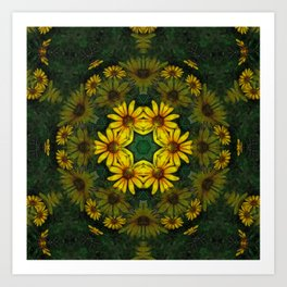 Large Yellow Wildflower Kaleidoscope Art 10 Art Print