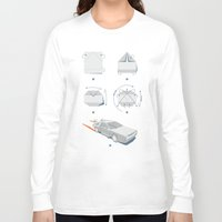 delorean Long Sleeve T-shirts featuring Origami DeLorean by 6amcrisis