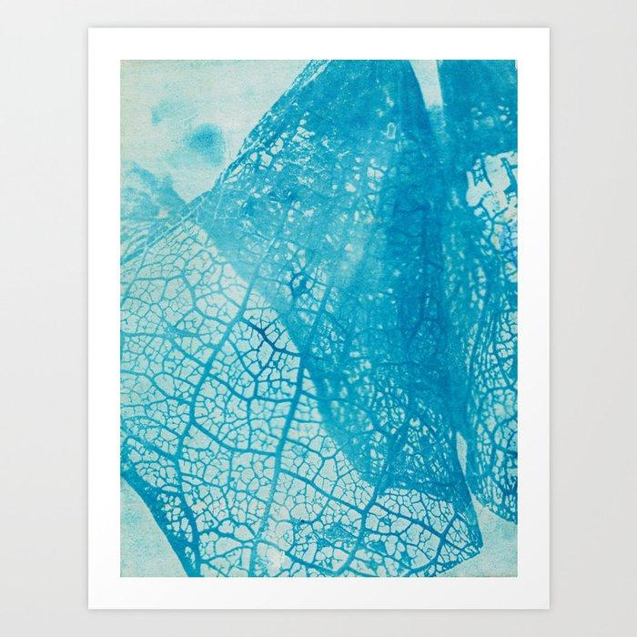 Floral Skeleton Cyanatope Print Art Print