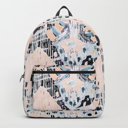 watercolor IKAT collage, mixed media, pastel pattern, pink, indigo, grey, black, sky blue Backpack