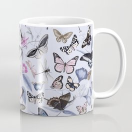 Nostalgic Pastel Butterfly And Flower Pattern Coffee Mug